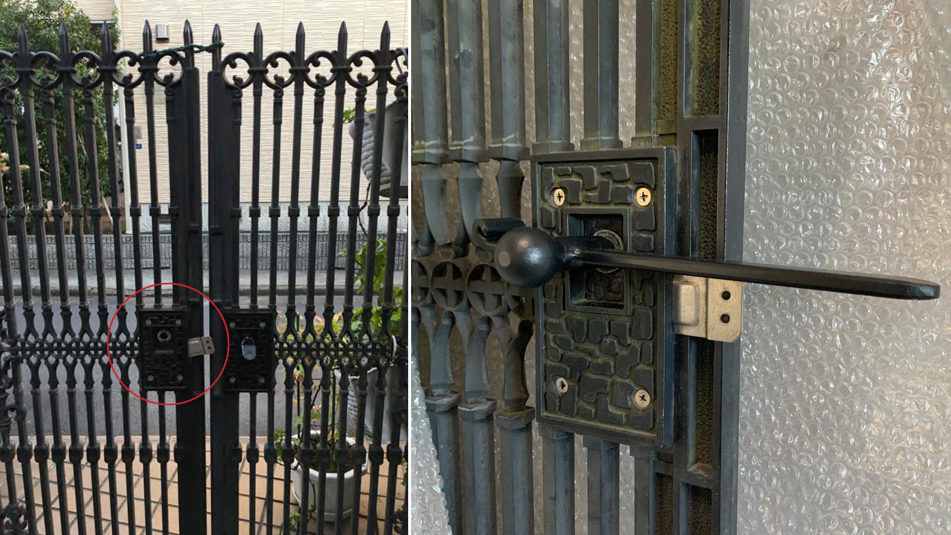 アルミ鋳物門扉 取手の補修